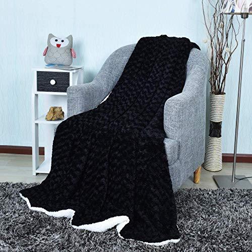 HUA JIE Puede Utilizar para Sofá Lujosa Manta de TV para sofá, cálida y súper Suave, Color Negro