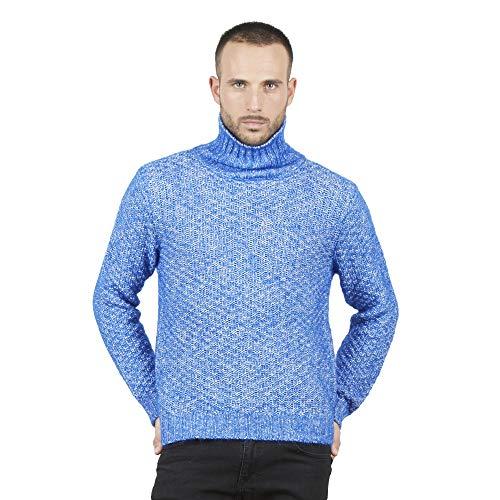 BRUNELLA GORI Jersey Suéter de Cuello Alto para Hombre en Azul Alpaca