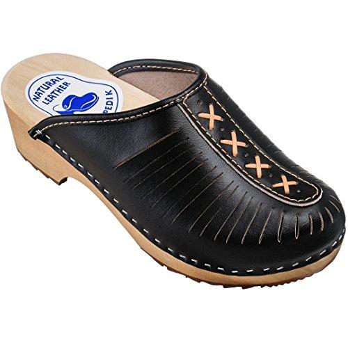 ESTRO Zuecos De Madera para Mujer Calzado Sanitario De Trabajo CDL01 (Negro, Numeric_39)