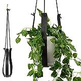 MODRN KASSA Vegan Leather Strap Plant Hanger, Hanging Planter for Indoor Adjustable Length Planter Holder for Indoor Plants (Plant and Pot Not Included) (Black)