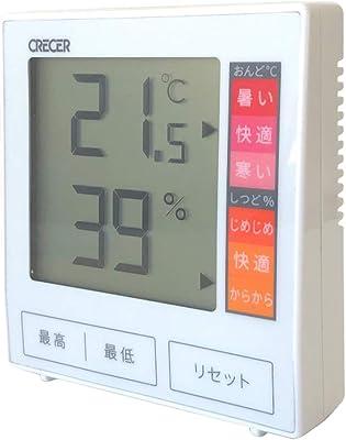 クレセル 室内用 デジタル温湿度計 CR-1180W 白 88×81×24mm