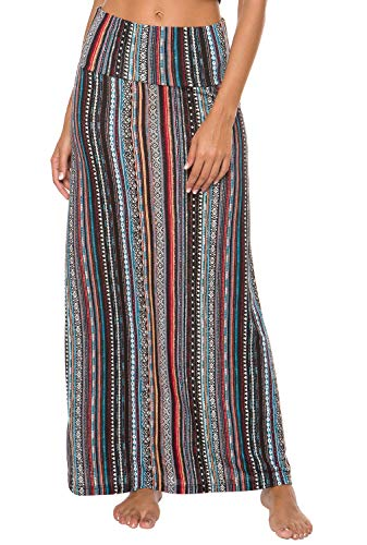 EXCHIC Women's Bohemian Style Print Long Maxi Skirt (XL, 6)