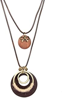 Necklace Clothing Accessories Features Double Pendant Wax Rope Necklace Cotton and Linen Clothing Size Circle Round Wood Necklace