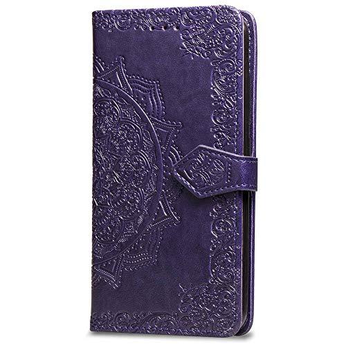 3C Collection Fundas iPhone X Tapa de Falsa Piel Mandala Morado, Fundas iPhone XS Libro Iman con Tarjetero, Grabado Flores de Funda para iPhone X y iPhone XS Antigolpes Mujer