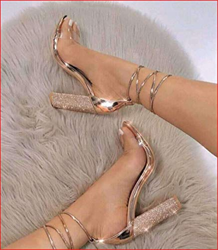WJMLHLGG Große Größe 35-40 Frauen Sandaletten Bandage Strass Knöchelriemen Pumps Super High Heels 11 cm Square Heels Lady Schuhe