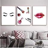 Pestañas modernas Labios rojos Carteles de moda Maquillaje Pintura de la lona Arte de la pared Cartel nórdico Cuadros de pared para la decoración del salón de belleza (50x70x3pcs cm sin marco)