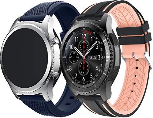 Abasic Correa de Reloj Compatible con TicWatch Pro/Pro 4G LTE / S2 / E2 / GTX, Silicona Correa Reloj con Acero Inoxidable Hebilla desplegable (22mm, Azul + Negro y Rosa)