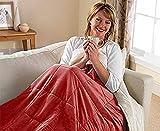 Doppelseitige 3-in-1-Decke, kuschliger Wohnmantel mit Ärmeln und Reißverschluss für Erwachsene,  tragbarer, superweicher Fleece-Überwurf. burgunderfarben