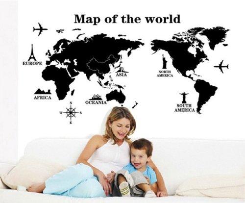 【la select】ウォールステッカー 世界地図 壁紙 A map of the world ウォールペーパー [黒]