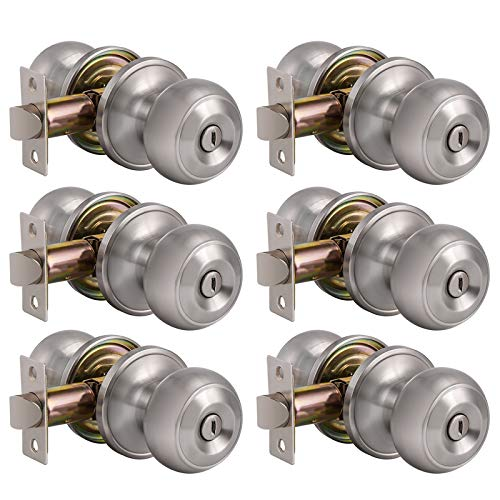 6 Pack Privacy Door Lock Storage Room Bathroom Keyless Lockset Flat Ball Set, Brushed Satin Nickel