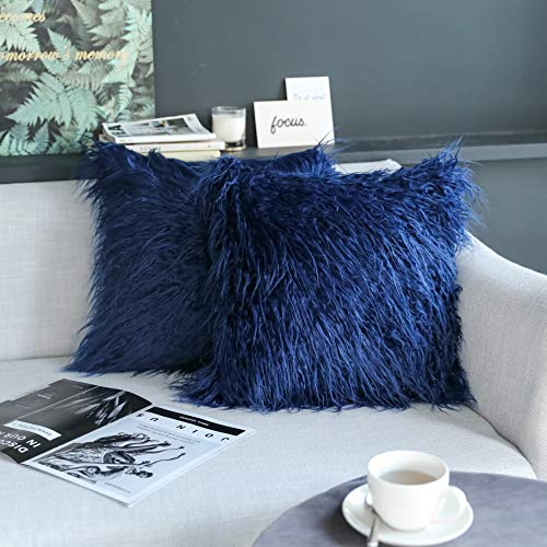 Kevin Textile Set of 2 Decorative New Luxury Series Merino Style Navy Blue Fur Throw Pillow Cover Cushion Case Pillow Case for Sofa/Couch (18' x 18' 45cm x 45cm) Navy Blue