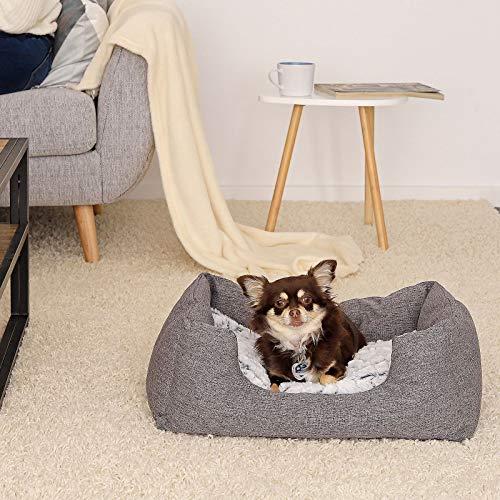 dibea DB00750, Hundebett mit wendbarem Hundekissen, 60 x 50 cm, grau (Farben/Größe wählbar) - 2