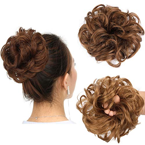 Messy Bun Hair Piece Thick Updo Scrunchies Synthetic Hair Extensions Ponytail Hair Wig Hairpiece Light Golden Brown