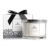 Lavender and White Sage Large Scented Candle Gift, Complete with a Shiny Lid, Gift Box Ribbon. Scent...