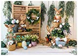 WOLADA Spring Easter Backdrop Spring Garden Decoration Colorful Eggs Rabbit Flower Backdrops for Photography Baby Shower Party Banner Portrait Photographers Art Studio Prop 7x5ft 11985