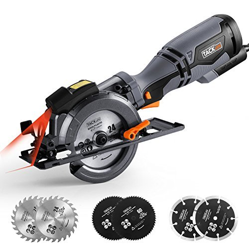 """TACKLIFE Circular Saw with Metal Handle, 6 Blades(4-3/4"""" & 4-1/2""""), Laser Guide, 5.8A, Max Cutting Depth 1-11/16'' (90°), 1-3/8'' (45°), Ideal for Wood, Soft Metal, Tile and Plastic Cuts - TCS115A"""