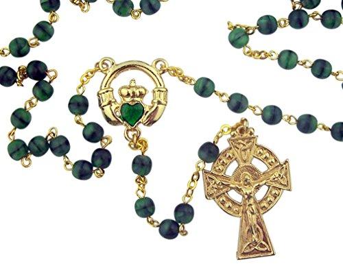 Green Glass Prayer Beads Celtic Rosary with Irish Claddagh Centerpiece, 18 Inch