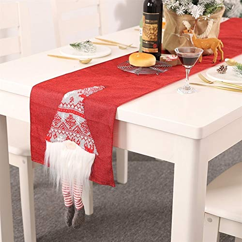 Gu3Je Hogar Barba Preciosa muñeca Camino de Mesa Decoración de Navidad for el hogar Regalo Restaurantes Bandera de la Tabla Hogar (Color : Red, Size : 33x180cm)