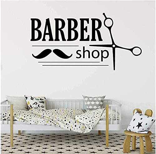 Kapper vinyl winkel salon kapsalon kapper mannen haarlak haar muurstickers raamstickers voor vrouwen 57X30Cm