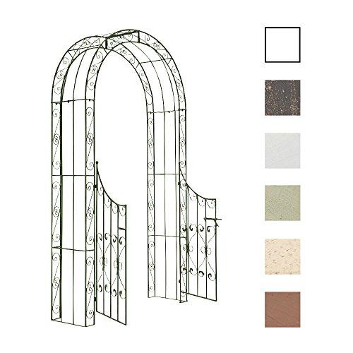 CLP Eisen-Rosenbogen SINA mit Eingangspforte I Torbogen mit stilvollen Verzierungen I Rankhilfe im Landhausstil I erhältlich, Farbe:antik-grün