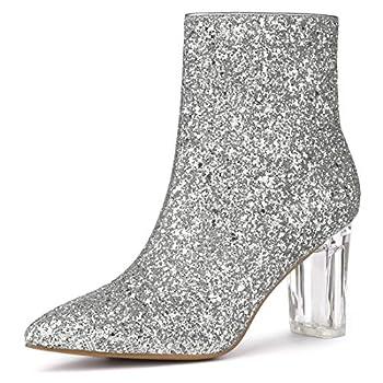 Allegra K Women s Clear Block Heel Glitter Silver Ankle Boots 8 M US