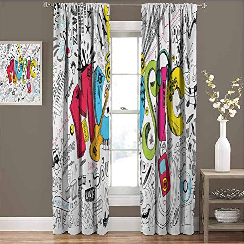 Toopeek Music Room Darkened Curtain Pop Art Featured Doodle Style Musical Background with Instruments Sound Art Illustration Insulated Room Bedroom Darkened Curtains W84 x L84 Inch Multi