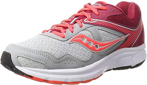 Saucony Women's Cohesion 10 Grey/Pink Running Shoe 7.5 M US