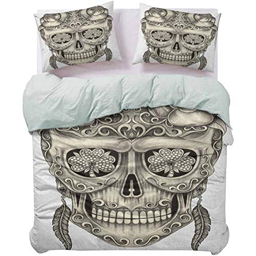 UNOSEKS LANZON - Funda de cama con diseño de calavera de azúcar con rosas y libélula, diseño de plumas y pendientes de obra de arte de primera calidad que te da un buen sueño gris marfil, tamaño queen