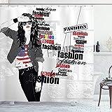 ABAKUHAUS Vereinigte Staaten von Amerika Duschvorhang, Moderne jugendlich Mädchen USA Flagge, Waserdichter Stoff mit 12 Haken Set Dekorativer Farbfest Bakterie Resistet, 175x200 cm, Weiß Schwarz Rot