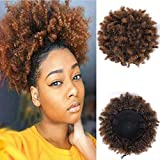 Rosa Star Afro Puff Drawstring Ponytail Synthetic Short Afro Kinky Curly Afro Hair Bun Extension Hairpieces Updo Hair Extensions with Two Clips (Brown 2/30#)