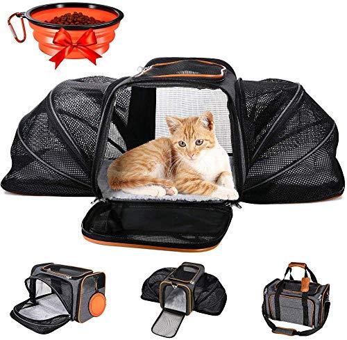 MASTERTOP Faltbare Transporttasche Hund und Katze ( inkl 1× Faltschüssel und 1 × Flanellmatte ), erweiterbare Katzentransportbox & Tragetasche für Katze und Hund, Katzentasche geeignet Flugreisen