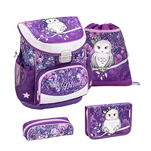 Belmil ergonomischer Schulranzen Set 4 -teilig für Mädchen 1, 2 Klasse Grundschule/Super Leicht 750-800 g/Brustgurt/Eule, Owl/Lila, Purple (405-33 Sweet Dreams)