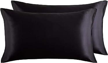 Bedsure Funda Almohada 50x75cm Satén Negro - Juego de 2 Fundas Almohadas 75x50 Pelo Rizado, Muy Liso Suave de 100% Microfibra, Antiarrugas sin Cremallera, 2 Piezas