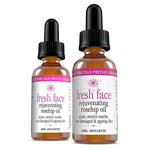 Rosehip Oil 100% Pure Cold-Pressed Wild Chilean Rejuvenating FRESH FACE - Naturally Rich in Vitamins A, C & E, and Essential Fatty Acids for Scars, Stretch Marks, Sun Damaged & Ageing Skin 2 x 30 ml Bottles