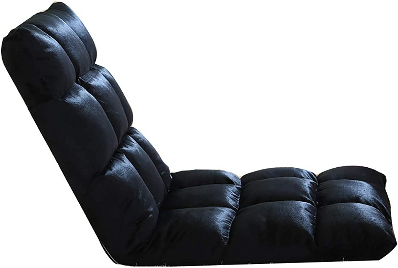 SYF Black Floor Chair Single Lazy Sofa Foldable Armchair Leisure Home Sofa Chair, 6-Speed Adjustment A+