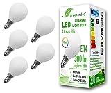 5x Bombilla de filamento LED opaca greenandco IRC 90+ E14 G45 3W (corresponde a 28W) 300lm 2700K (blanco cálido) 360° 230V AC vidrio, sin parpadeo
