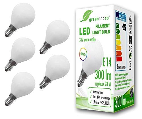 5x greenandco® CRI 90+ Glühfaden LED Lampe ersetzt 28 Watt E14 G45 Globe matt, 3W 300 Lumen 2700K warmweiß Filament Fadenlampe 360° 230V AC nur Glas, nicht dimmbar, flimmerfrei, 2 Jahre Garantie