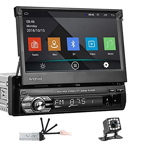 Schermo singolo Din Android 10.1 Car Stereo Flip Screen,ZIJIN Autoradio con Bluetooth FM WiFi e navigazione GPS, collegamento specchio per telefono cellulare + fotocamera di backup 12LED