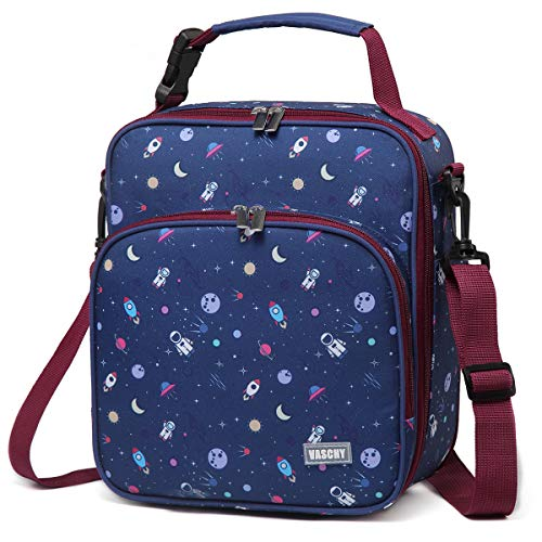 Lunch Boxes Bag for BoysVASCHY Reusable Lunch Box Containers for Boys and Girls with Detachable Shoulder Strap Insulated Lunch Coolers for School Cute Astronaut