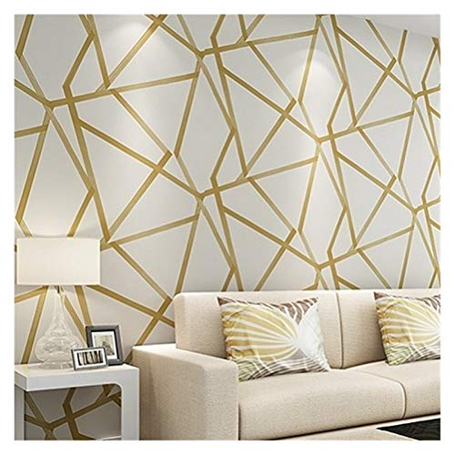 SONGYG 3D Geometrische Tapete Blau Beige Wall Paper Moderne Design Streifen Dreieck-Muster-Schlafzimmer Wohnzimmer Wohnkultur Tapete Selbstklebend (Color : Cream Gold, Dimensions : 10mx53cm)