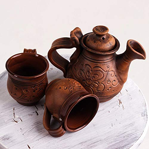 Tea Ceramic Set of two Cups for drinking with teapot tea Handmade Stoneware Clay