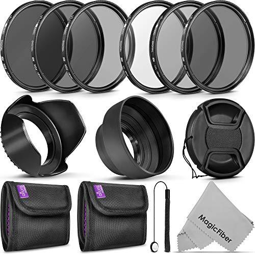 goja lens filters 58MM Altura Photo UV CPL ND4 Filter Kit, ND Filter Set, Collapsible Rubber Lens Hood, Tulip Lens Hood Bundle for Lenses with a 58mm Filter Size