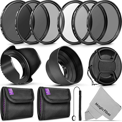 58MM Altura Photo UV CPL ND4 Filter Kit, ND Filter Set, Collapsible Rubber Lens Hood, Tulip Lens Hood Bundle for Lenses with a 58mm Filter Size
