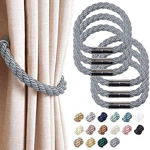 NICEEC 6 Pack Strong Magnetic Curtain Tiebacks Modern Simple Style Drape Tie Backs Convenient Decorative Weave Rope Curtain Holdbacks for Thin or Thick Home & Office Window Draperies (Dark Grey)