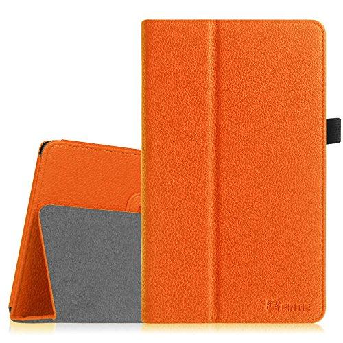Fintie Hülle Hülle für Odys Winpad V10 2in1 / Odys Windesk X10 25,7 cm (10,1 Zoll) Convertible Tablet-PC - Slim Fit Folio Kunstleder Tastatur Ständer Schutzhülle Cover Tasche, Orange