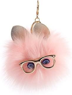 Aland Cute Fluffy Owl Pompom Key Ring Holder Keychain Women Car Bag Pendant Ornament Fashion Cute Plush Toy Girl Cartoon Color Fluffy cat Head Key Ring Pendant Pink