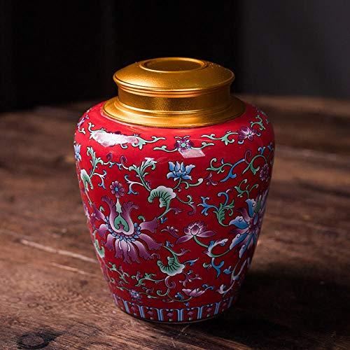 Ksnrang Keramik-Teedosen, emaillierte kandierte Obstdosen, allgemeine Aufbewahrungsdosen, Sammlung hochwertiger Geschenksets, Private Anpassung-Hallo Red-Single Can