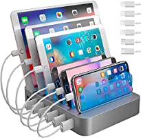 Hercules Tuff Charging Station for Multiple Devices, with 6 USB Fast Ports and 6 Short Mixed USB Cables Included for...