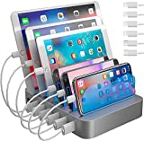 Hercules Tuff Charging Station for Multiple Devices, with 6 USB Fast Ports and 6 Short Mixed USB Cables Included for Cell Phones, Smart Phones, Tablets, and Other Electronics, Silver