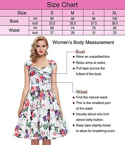 50s Kleid Partykleid A-Linie Picknick Kleid Knielang Casual Kleid M BP093-1 - 3